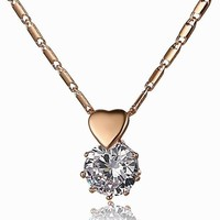 Yiwu Duoying Factory Newest Fashion Zircon Round Plated Gold Heart Necklace for Summer