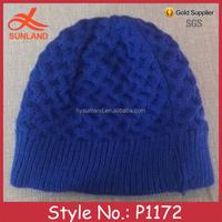 P1172 custom handmade blue children unisex knitted beanie hat