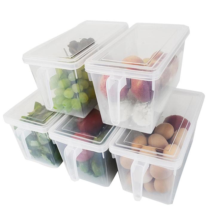 Apilable organizar frigorifico cajas de plastico transparente a medida