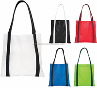 Fashion eco reusable long handle pp non woven fabric gift promotional tote shopping bag