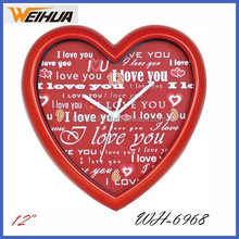 10 inch heart shape wall clock for gift