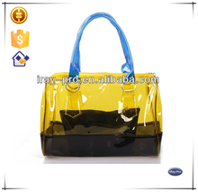 2015 transparent PVC smaller twin bag inside shopping tote bag / candy bag / beach bag/ cometic bag