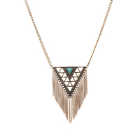 Antique Gold Plated Triangle Turquoise Pendant Tassel Necklace Jewelry N3-7224-4450-58.3