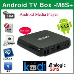New M8S Plus 2G/8G Amlogic S812 Smart Tv Box Preinstall Kodi 14.2 H.265 Bt 4.0 Android 5.1 Quad Core 4K M8S+ Plus Android Tv Box