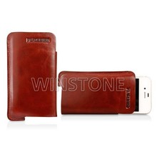 Cowhide Wax Leather Recessed Logo Cellphone Case