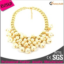 Plating Gold Chain Luxury Women Statement Pearl Necklace Pictures