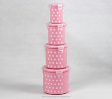 PP Food Grade food Container Set BPA Free Pink Polka dot storage container lunch box round square rectangle