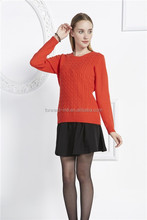 latest top selling crew neck knitted pattern womens pullover 2014