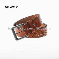Men jeans beaded leather belt