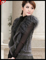lady holiday winter fur waistcoat hand knitted women's real rex rabbit fur vest cardigan with hook & eye clousure