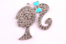 AAA Quality wholesale girl with bow rhinestone charm cartoon pendants for chunky necklaces making!!