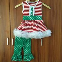 Pretty design baby clothes christmas boutique outfits kids children boutique set wholesale