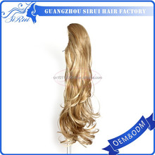 New design clip on blond long curly ponytail pony tail synthetic hair extension, cow water, best products for import