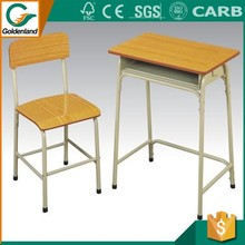 Modern style single steel and wooden student desk and chair for school furniture
