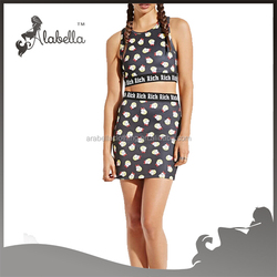 Digital printing Sexy bra with mini skirt for polyester spandex fabric