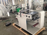 Automatic label rotary die-cutting station with roll to roll slitting machine