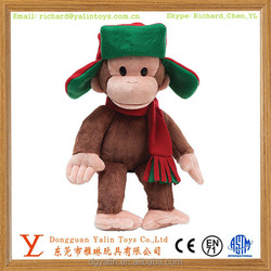 2015 Funny Design China Factory Direct Sale Plush&Stuffed Toys lifelike Monkey With Hat&Scarf Meet EN71&ASTM for kids