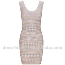 Mixed color tight bandage dress in rayon and spandex in Guangzhou