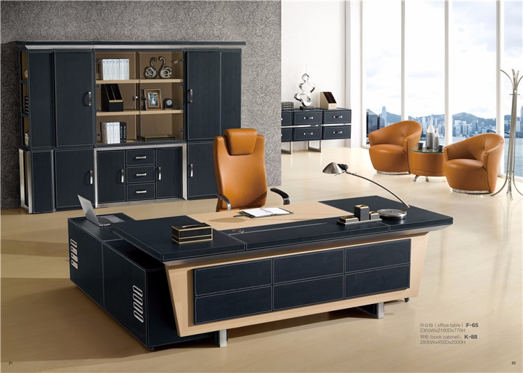 en cuir pvc d 39 ameublement patron moderne directeur bureau table conception f65 bureau patron. Black Bedroom Furniture Sets. Home Design Ideas
