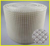 White Pearl Rhinestone Mesh 10 Yards 24 Rows Pearl Trim Lace Plastic Material & Flatback