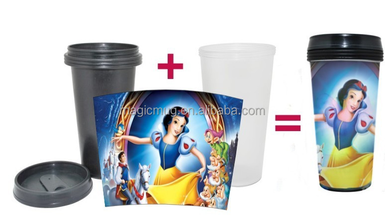 Double Wall Plastic Tumbler With Removable Paper Insert
