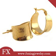 diseño de moda para el regalo de la muchacha de acero inoxidable anillo de oro patrón aro pendientes