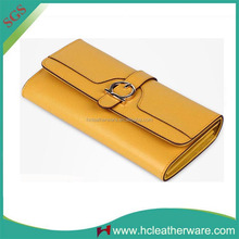 Perfect Design Women Trifold Yellow Italian Leather Purse Brands with Belt Buckle