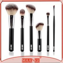 6 Pcs Natural Hair New Designer Beauty Makeup Brush Set With Brush Roll Bag Styling Tools