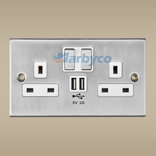 UK wall switch socket metal chrome USB