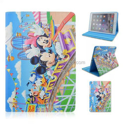 Cartoon Colored drawing PU leather case, Flip stand, blue inner case for ipad 6