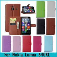 For Nokia Lumia 640 xl Case Litchi Solid Skin Wallet Stand Flip PU Leather Case For Microsoft Lumia 640 XL Phone Cases Bags