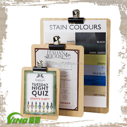 Natural Wooden Clip Board Flyer Display Stand For Restaurant Menu