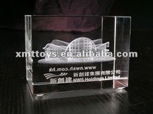 crystal cube with building model laser engraved
