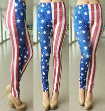 Seamless star stripe American flag printed skinny leggings pantyhose female legging trousers 9152