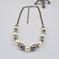 N14105-01Pearl Handmade Fashionable Stylish Designer Beaded Necklace Jewelry Present