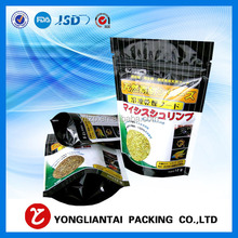 black packaging with hanger hole/stand up plastic bag for food/custom wholesale foil food bag packaging