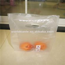 Orange packaging PE die cut handle bag with special design, die-cut PE bag for grocery packaging