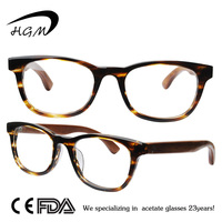 Acetate Frame Wooden Eyeglasses Without Nose Pads