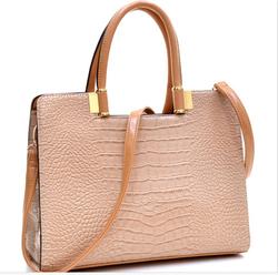 Women Beige Handbag Crocodile Shoulder Bag Briefcase Business Bag HOT ITEM
