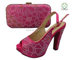 2015high quality lady fashion fushia pink shoe and matching bags for women