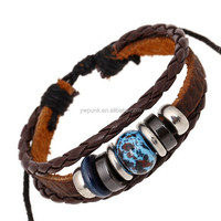 Ceramic Chinese style bracelet adjustable black leather wristbands hand bands leather cuff of Lady leather hand belt