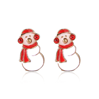 Yiwu Jewelry Factory Best Imports Wholesale Jewelry in China Christmas Festival Gift Snowman Shape Cute Alloy Earring Stud