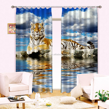 Hottest New Elegant Lifelike Tiger Printing & Energy Saving 3d digital printing office window curtains