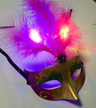Coated New Fashion Design cheap Christmas feather party mask with led light