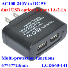 AC 100-240v , 110v 220v to dc 5v dual USB optical output charger 1A 2.1A for mobile phone,Ipod,Iphone,Laptop,Camera.