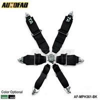 "AUTOFAB - Black / Green 3"" 6 POINTS Car Seat Belt with 6pcs FIA 2020 Homologation / Harness / Racing Satefy Seat Belt AF-MPH361"