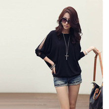 Walson New Fashion Women's Loose Long Lace Batwing Sleeve Shirts Plus Size Blouse Tops S M L XL G0129