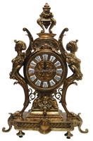 European Antique Style Skeleton Copper Table Clock , Unique Design Bronze Arts Crown Desk Clock For Home Decoration