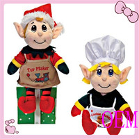 Hot selling funny Christmas toys plush elf dolls