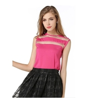 2015 Summer Style Chiffon Splice Transparent Vintage Women Shirt
